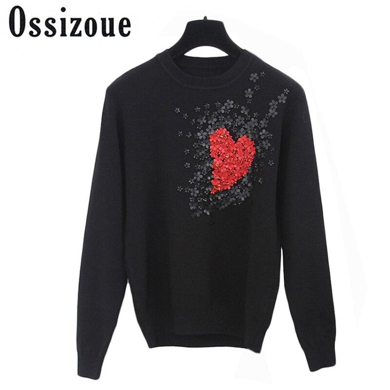 Европейский стиль Новый Бисероплетение Winer для женщин сердце знаменитостей цветы сладкий вязаный свитер Пуловеры свитеры Теплые повседневные топы