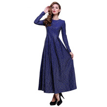 2016 Plus Size 4XL Spring New Women Lace Long Dress Long Sleeve O-neck Slim Fit Flare Muslim Maxi Long Kaftan Ladies Dresses