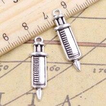 20 pçs encantos doutor seringa 30x9mm antigo prata cor pingentes fazendo diy artesanal jóias fábrica atacado