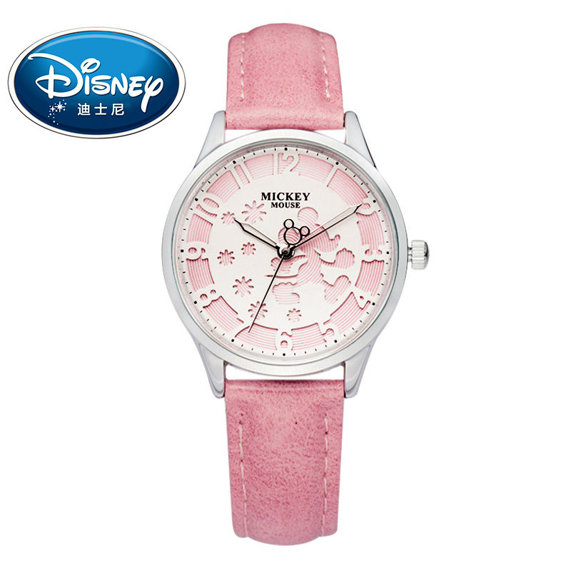 Disney Kids Watch Fashion Cool Cute Quartz Wristwatches women watch Waterproof Mickey Mouse For Children Leather clock disney kids watch children watch rhinestone fashion minnie leather strap cute quartz wristwatches girls waterproof clock