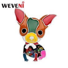WEVENI Enamel Alloy Chihuahua Dog Brooches Cartoon Animal Jewelry Pin For Scarf Clothes Women Girls Pet Lovers Gift Accessories(China)