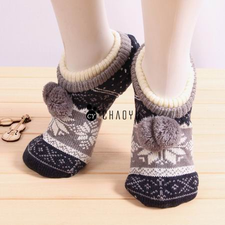 Ladies Cable Knit Soft Navy Non Slip Fair Isle Slipper Socks with ...