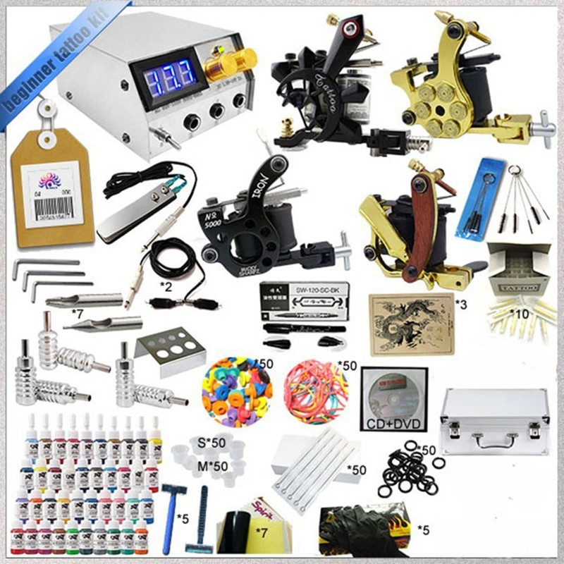 1 Sets Complete 4 Gun Tattoo Kits Professional Machine Equipment+Teaching CD+Ink +Needles+Power supply For Beginners Body Art professional tattoo kits liner and shader machines immortal ink needles sets power supply