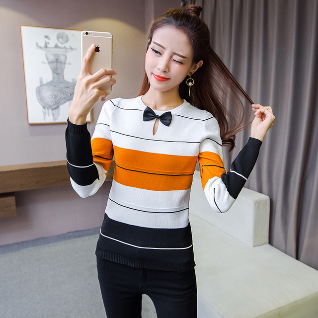 2017 Spring Women's Knitted  Sweater One Size Striped Sweater Tops Woman Autumn Clothes Pullover Basic Shirt