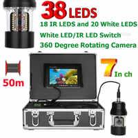 7 Inch 50m Unterwasser Angeln Video Kamera Fisch Finder IP68 Wasserdicht 38 LEDs 360 Grad Rotierenden Kamera
