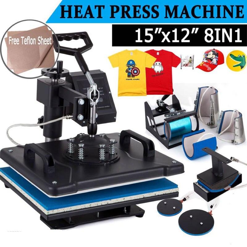 8 в 1 комбинированная машина для передачи тепла Сублимация/термопресс машина для пластин/кружек/колпачков/футболок/чехол для телефона