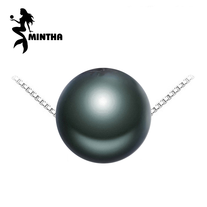 MINTHA Pearl Jewelry,Genuine natural black Pearl Necklace,Choker 925 sterling silver pendant for Women tahitian pearl pendant купить недорого в Москве