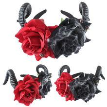 Hair Accessories Demon Sheep Horn Rose Flower Headband Gothic Kawaii Skull Horror Halloween Party Cosplay Retro
