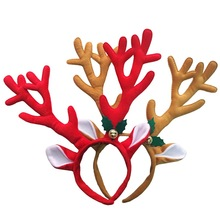 1pc Red Brown Antlers Hair Bands Christmas bells headband cuffs For party New Year Xmas Decorations