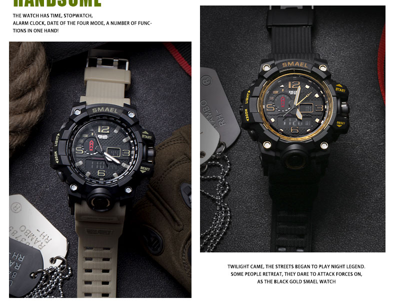 Relógio masculino militar de 50m, relógio de