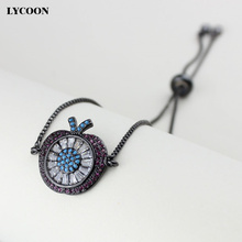LYCOON big apple shape bead prong setting white and rose red CZ bracelets for women box chain bracelets size adjustable max 22cm