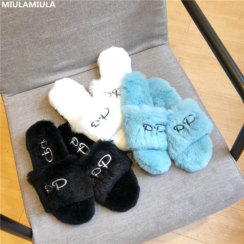 MIULAMIULA Brand Designers 2019 New Fashion Soft Rabbit Hair Flat Slipper Fur Slides Slip On Loafers Mules Flip Flops Outside