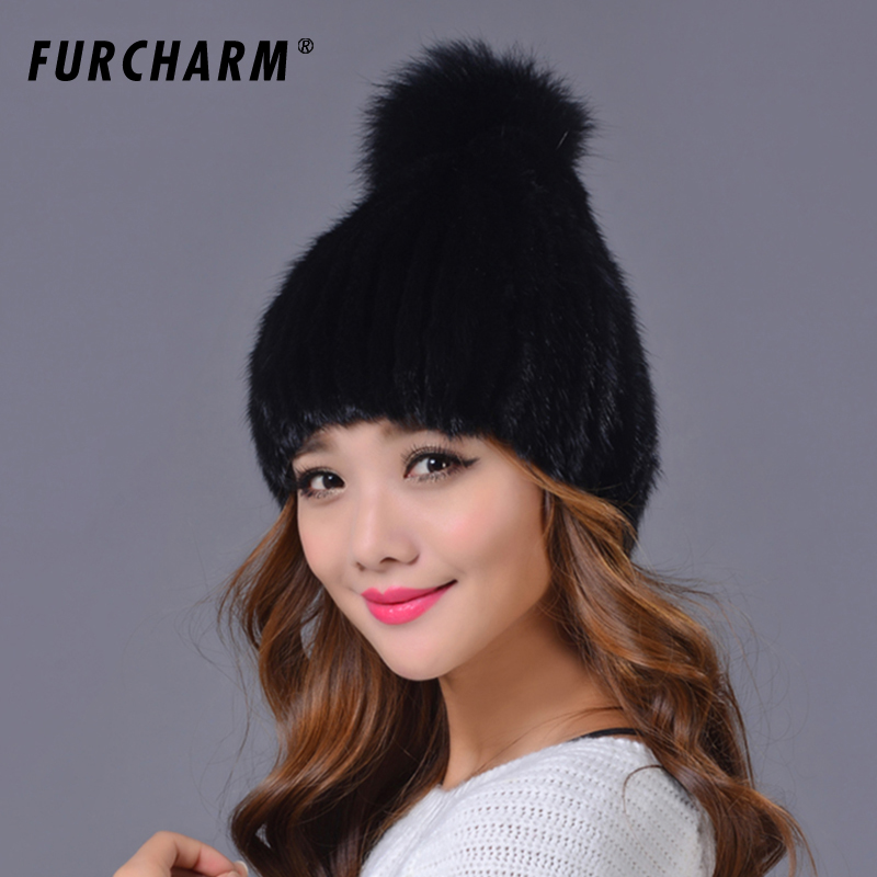 100% Real Mink Fur Hat and Beanie Cap with Fox Fur Ball Hat for Women 12cm real mink fur ball keychain on the keys fluffy real fur pompom car for couples fur ball key chains fur cap beanie