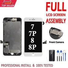 1 Uds conjunto completo LCD para iPhone 7 8 Plus pantalla LCD 3D MONTAJE DE digitalizador con pantalla táctil de reemplazo + cámara frontal + altavoz del auricular