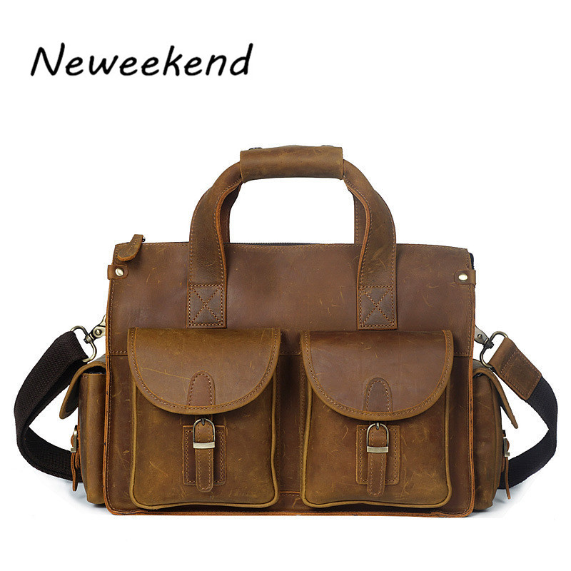 NEWEEKEND Vintage Genuine Leather Crazy Horse Handbag Crossbody Shoulder Travel Luggage 16 Inch Laptop Bag for Man YD8045 neweekend 1005 vintage genuine leather crazy horse large 4 pockets camera crossbody briefcase handbag laptop ipad bag for man