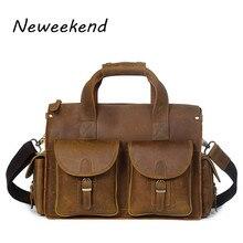 NEWEEKEND Vintage Genuine Leather Crazy Horse Handbag Crossbody Shoulder Travel Luggage 16 Inch Laptop Bag for Man YD8045