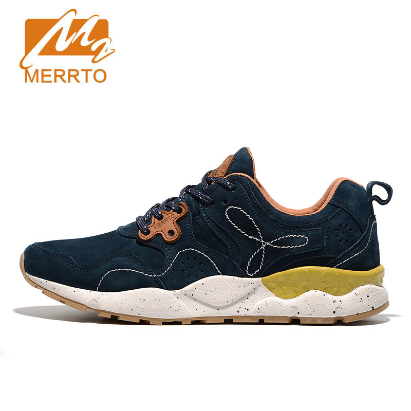 MERRTO Man Walking Shoes Suede Leather Outdoor Shoes Breathable Male Flat Shoes for Spring Summer Autumn Sneakers Fitness Shoes
