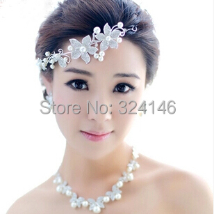 New Arrival Luxury Pearl Beauty Princess Jewelry Sets Fashion crystal Silver jewelry Bride Wedding jewelry sets Accessories