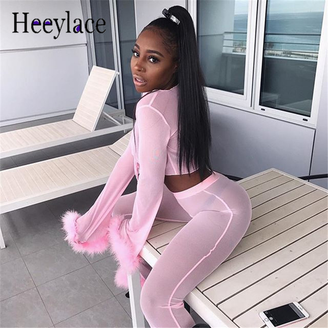 b2c4bb6eee5 Mesh Tracksuit Women Sexy 2 Piece Set women Top And Pants two piece set  Summer lace party outfits pink Sweat Suit ensemble femme