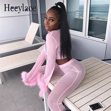Mesh Tracksuit Women Sexy 2 Piece Set women Top And Pants two piece set Summer lace party outfits pink Sweat Suit ensemble femme