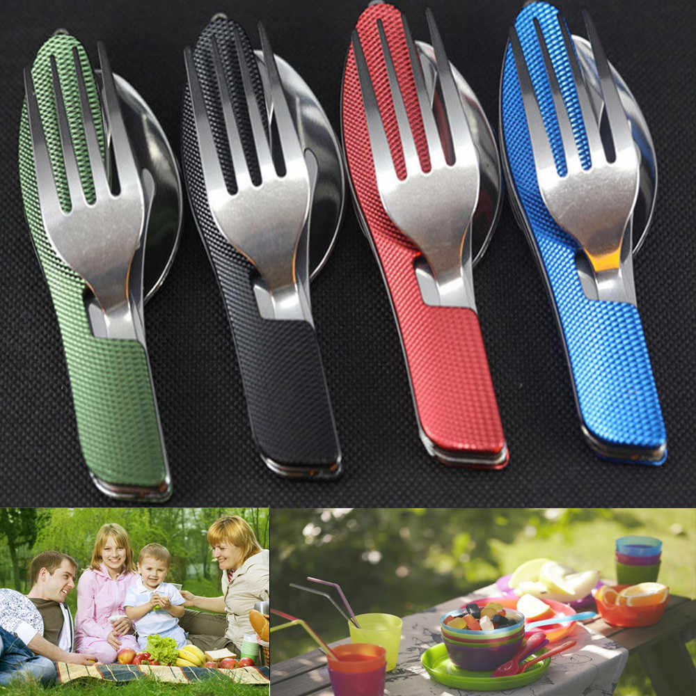 3 in 1 Outdoor Tableware (Fork/Spoon/Knife) Camping Stainless Steel Folding Pocket Kits for Hiking Survival Travel 0824