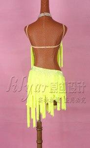 Image 3 - מבריק Rhinestones לטיני ריקוד שמלת נשים סלסה תחפושות מותאם אישית high end ניאון צהוב ציצית שיפוע לטיני שמלות