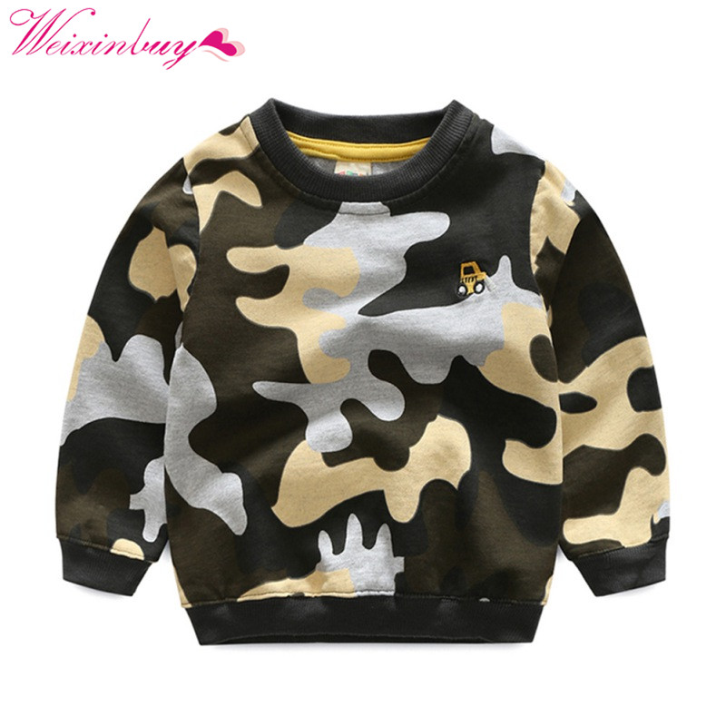 Baby Boys Sweatshirt Kids Long Sleeve Tops Camouflage Cotton 2018 Brand Winter Clothes Boys T shirts Hoodies Children Clothing