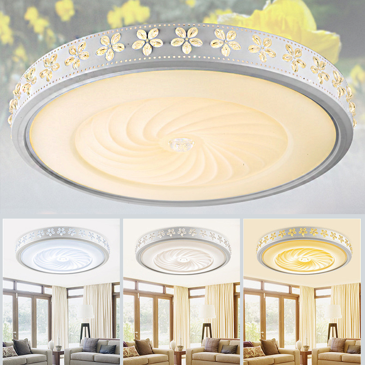 24W Acrylic LED Ceiling Light Dimmable With Remote Control Modern Trichromatic Lamp Living Room Bedroom Firture Lighting Bulbs round led ceiling light white modern acrylic ceiling lamp dimmable with remote control for kids bedroom lighting fixtures