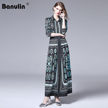 Banulin 2019 New Autumn Designer Runway Long Maxi Dress Women Turn Down Neck Vintage Stripe Printed Ankle-Length Party Dresses