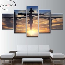 OKHOTCN Canvas Paintings Wall Art Framework 5 Pieces Jesus Christ Cross Pictures HD Prints God Divine Light Posters Living Room(China)