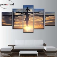 OKHOTCN Canvas Paintings Wall Art Framework 5 Pieces Jesus Christ Cross Pictures HD Prints God Divine Light Posters Living Room