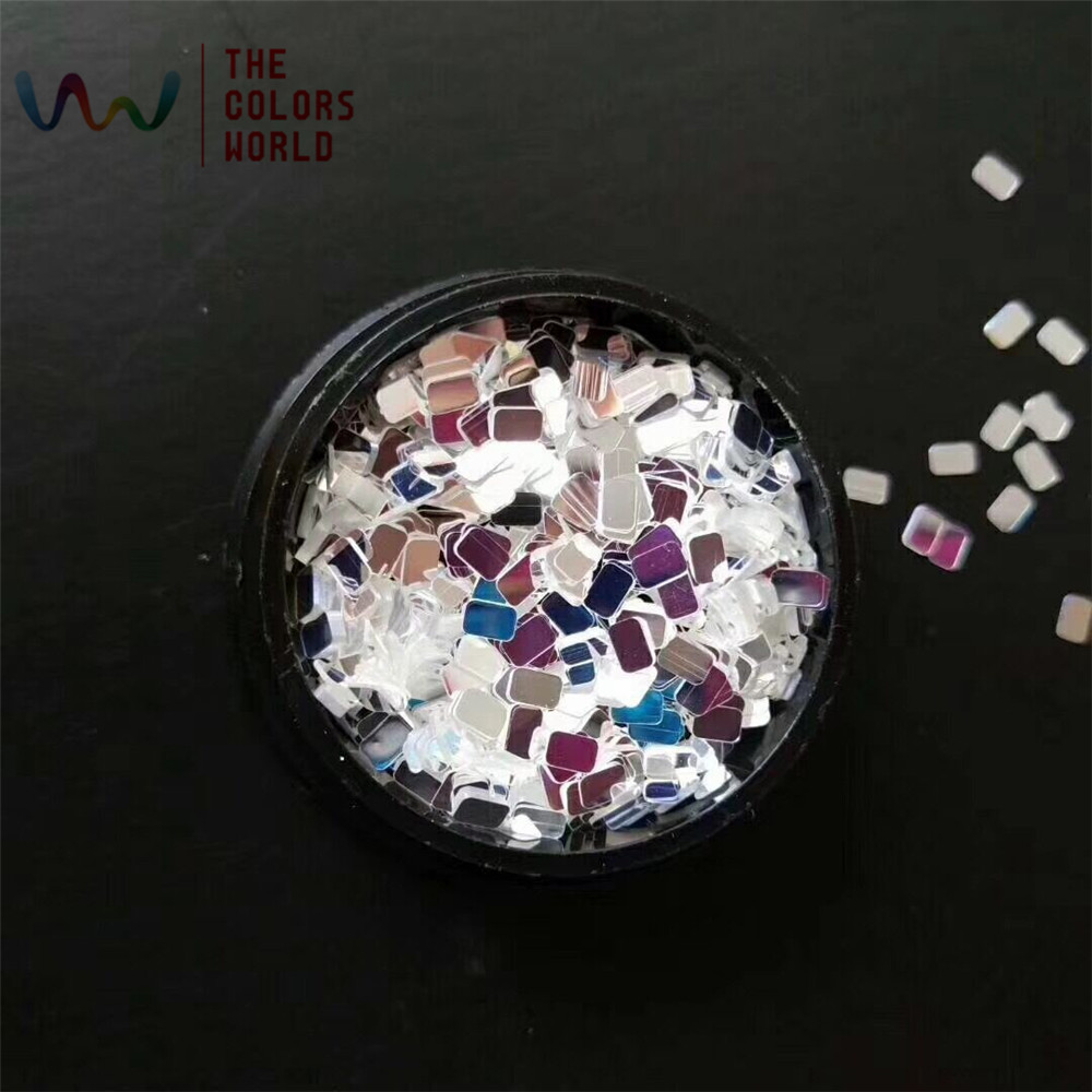 TCT-131 Shinning White With Silver Colors Glitter For Nail Art Decoration Body Art Nail Gel Polish Manual DIY Crafts Decoration 1 5mm 2mm 3mm gold silver hot fix flatback half round nail art rivet punk rock style for 3d nail art decoration