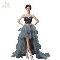 100% Real Afbeelding Veer Avondjurken met Kristallen Grijs Korte Voor Lange Terug Prom Avondjurk vestidos de fiesta largos