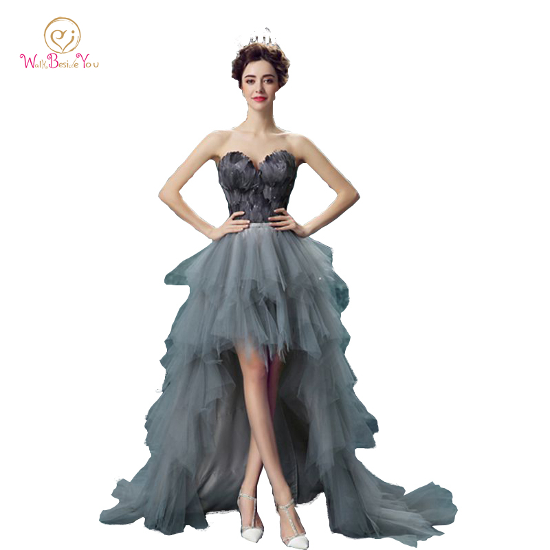 100% Real Image Feather Evening Dresses with Crystals Gray Short ...