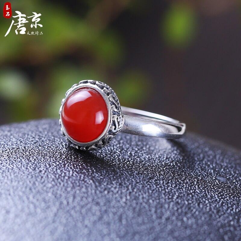 Bagues de mariage Anillos Sard pierres précieuses naturelles femmes donner Simple mode S925 pur vent Resto anciennes façons faire vieux rond