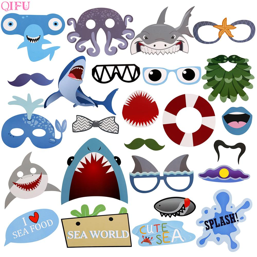 QIFU Baby Shark Theme Photo Booth Props Photobooth Props Photo Decor Party Photo Booth aby Shark Birthday Party Decorations Kids in Photobooth Props from Home Garden