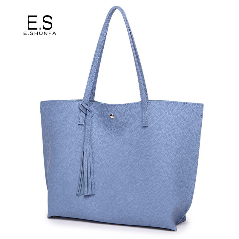 Fashion Casual Shoulder Bags For Women 2018 PU Leather Tote Bag With Tassel Large Capacity Soft Hasp Single Shoulder Woman Bag metallic hasp pu leather tote bag