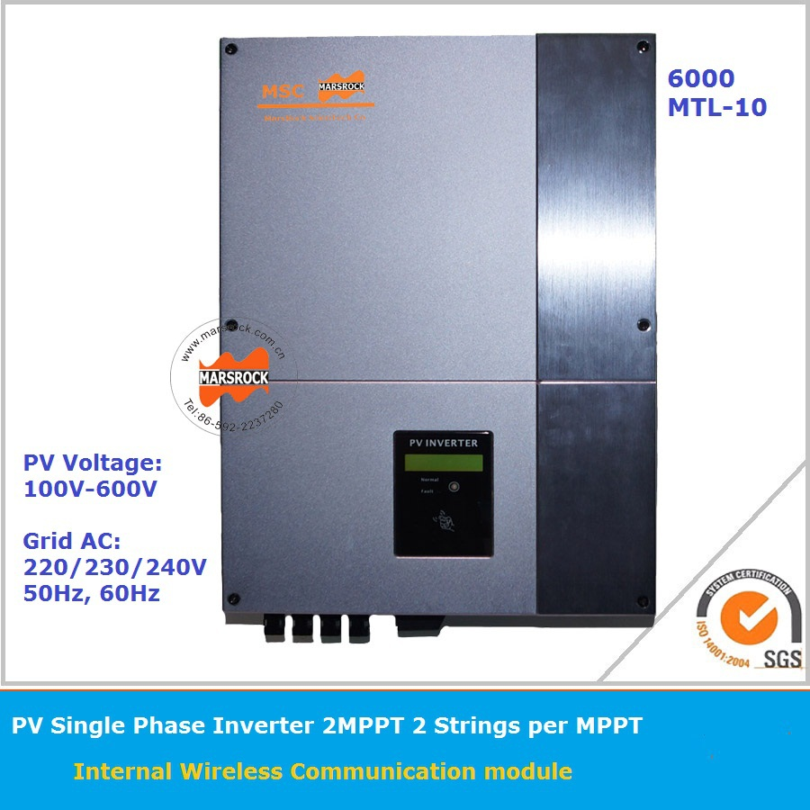 6000W 220v On Grid Solar Inverter with 2 High efficiency  MPPT and LCD display for multi-languages rs232 for monitoring system 5000w single phrase on grid solar inverter with 1 mppt transformerless waterproof ip65 lcd display multi language