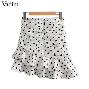Image 2 - Vadim 女性ポルカドットホワイト非対称ミニスカートフリルプリーツハイウエストバックジッパー女性の不規則なシックなスカート BA717
