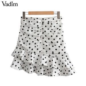 Image 2 - Vadim ผู้หญิง polka dot สีขาวไม่สมมาตรกระโปรงมินิ ruffles จีบสูงเอวกลับซิปหญิงไม่สม่ำเสมอ chic กระโปรง BA717