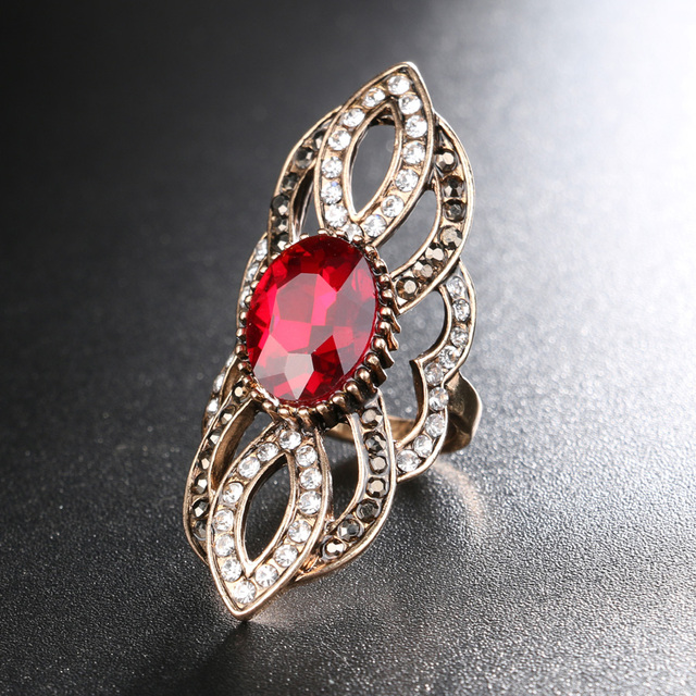 Kinel Trendy Red Zircon Rings For Women Big Crystal Rhinestone Antique Gold Color Punk Zinc Alloy Rings Vintage Jewelry