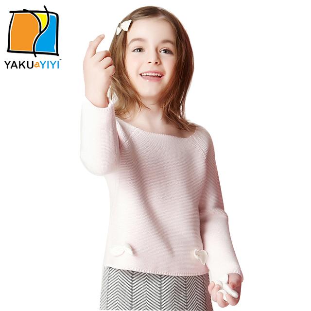 Ykyy yakuyiyi nuevas muchachas suéter dulce bownot rosa niña de punto tops soft niños del o-cuello del suéter de manga larga ropa de las muchachas