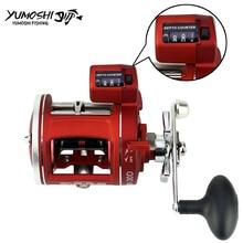 High Strength Aluminum Drum Reel Fishing Line Counter Trolling Fishing Reels 12BB 999FT Depth Finder Counter Meter Gauge