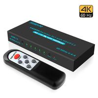 SGEYR 4K@60Hz 5x1 HDMI Switch HDMI Selector Switch 5 Port HDR IR Remote 4K HDMI Selector Box 5 in 1 Out Auto Switch HDMI Switche