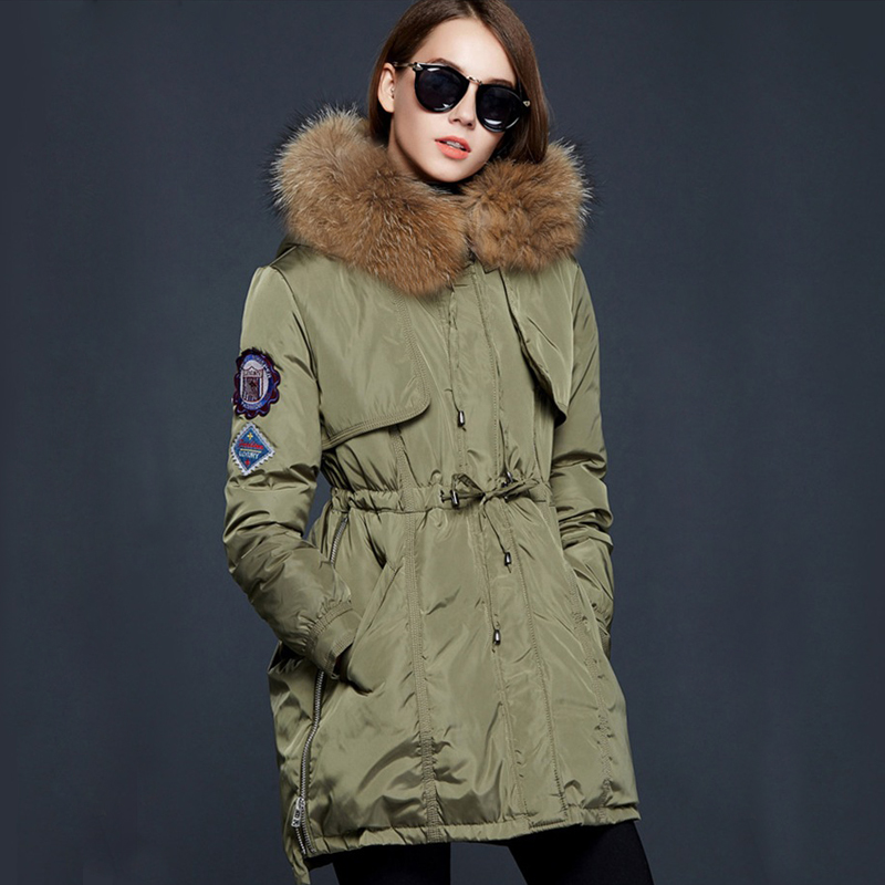 ФОТО Winter Jacket Women 2016 Real Big Raccoon Fur Collar Army Green Parka Cotton Down Jacket Thicken Warm Parkas Outwear DHL Free