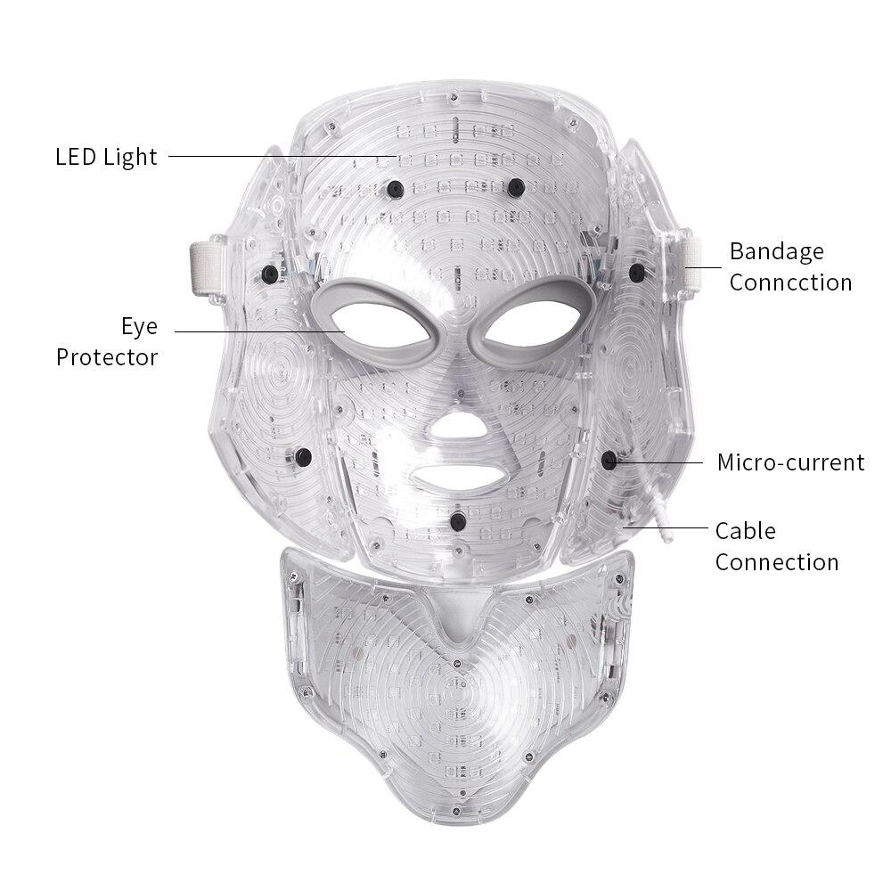 Foreverlily led masque facial Thérapie 7 Couleurs Visage machine à masques Photon lumière thérapeutique Soins de La Peau Rides traitement de l'acné Visage Beauté - 6