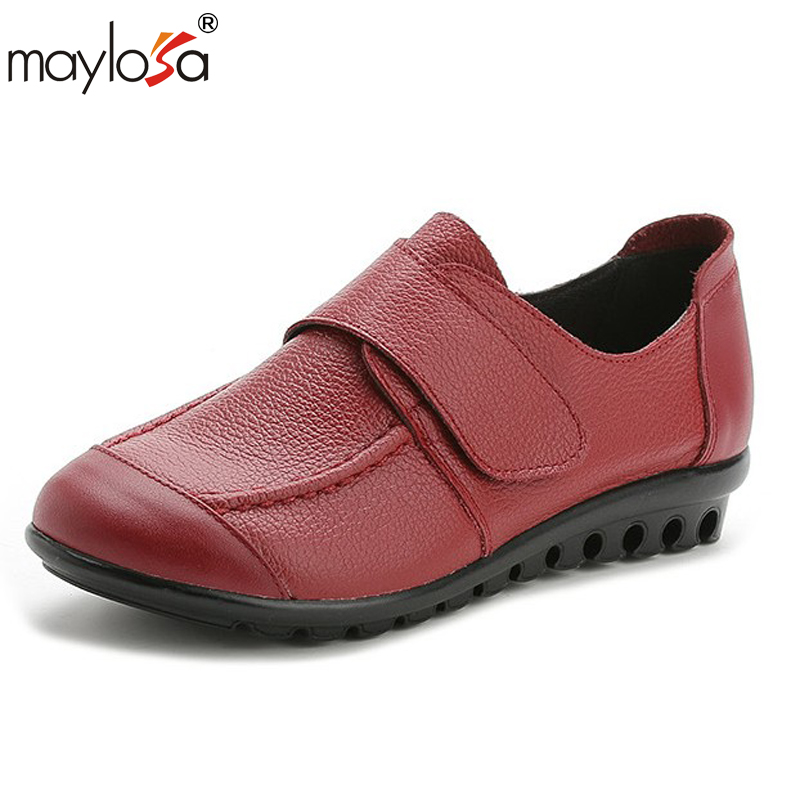 MAYLOSA Hand-made Genuine Leather Flat Shoes Woman Slip on Loafers Ladies Flat Shoes Brand Designer managing projects made simple