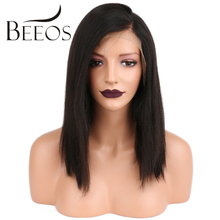 BEEOS Yaki Straight Wig Short Human Hair Lace Front Wigs Black Women Brazilian Remy Hair Lace Wigs Pre Plucked Bleacked Knots