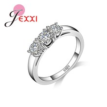 JEXXI Wedding Jewelry Stamped 925 Silver Rings For Women Luxury Three Crystal Rhinestone Engagement Finger Rings Free Shipping