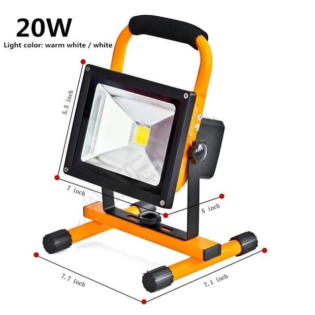 Led Flood Lighting Rechargeable 10w 20w Waterproof Outdoor Emergency Lamp Portable Spotlight Battery Ed Spot